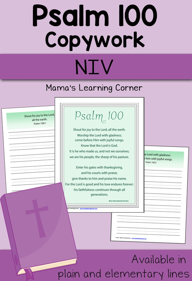 Psalm 100 NIV Copywork