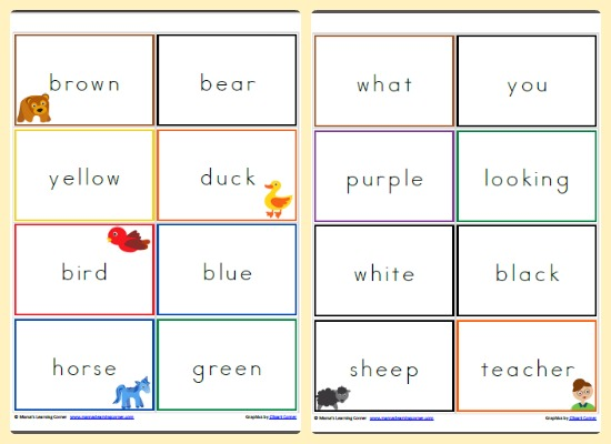 Brown Bear, Brown Bear, What Do You See? Printable Reading Cards