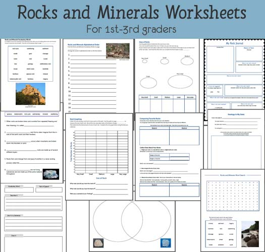 11 exclusive Rocks and Minerals Worksheets for 1st-3rd graders from Mama's Learning Corner