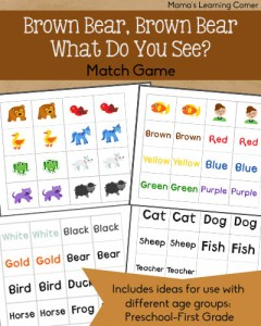 Brown Bear Match Game for Preschoolers - First Graders, including several ideas for use with various age levels