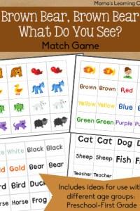 Brown Bear, Brown Bear Match Game