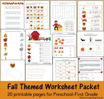 20-page set of Fall-themed worksheets and printables for Preschool-1st Grade
