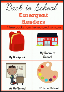 4-set download of Back to School Emergent Readers from The Measured Mom
