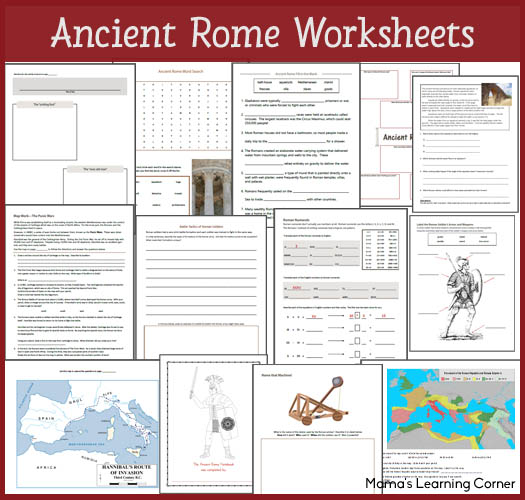 16-page Ancient Rome Worksheet Packet for 1st-3rd Graders
