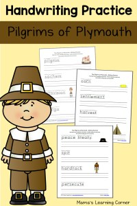Pilgrims Handwriting Practice Worksheets
