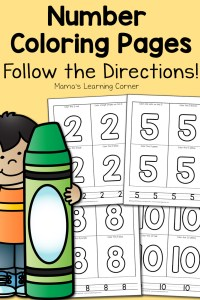 Number Coloring Pages for Preschool-Early Kindergarten