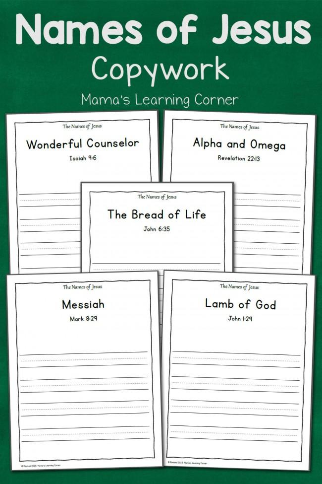 Names of Jesus Copywork