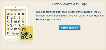 Free Letter Sounds A to Z app from All About Reading