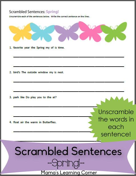 spring scrambled sentences worksheet mamas learning corner. Black Bedroom Furniture Sets. Home Design Ideas