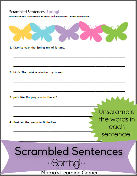 Free Worksheet: Scrambled Sentences: Spring! For 1st and 2nd Graders