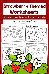 Strawberry Worksheets for Kindergarten-First Grade