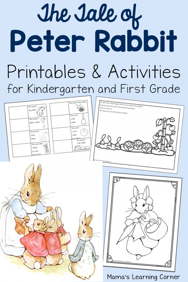 The Tale of Peter Rabbit Printables for Kindergarten and First Grade