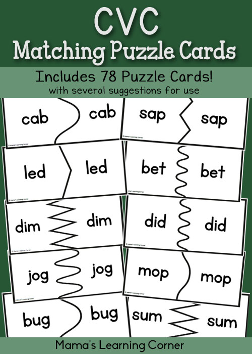 CVC Matching Puzzle Cards - set of 78 puzzles