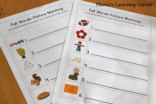 Fall Word Wall: Matching Worksheets