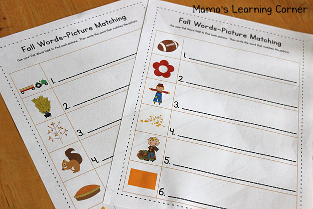 Fall Word Wall: Matching Worksheets