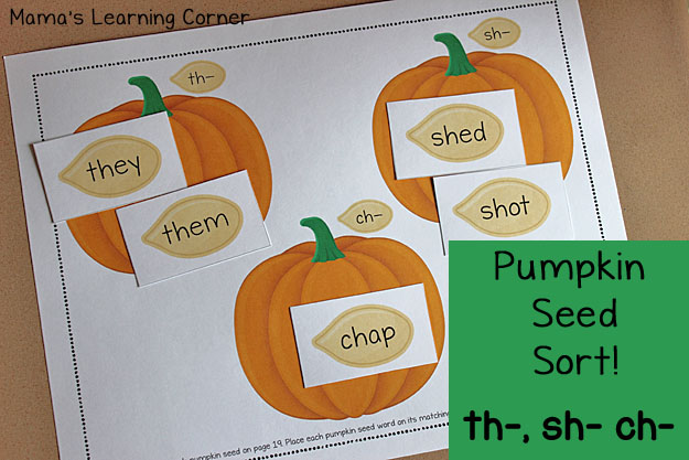 Pumpkin Seed Sort - free printable from Mama's Learning Corner!