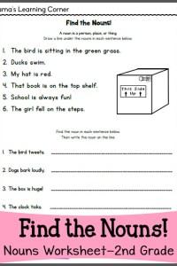 Find the Nouns Worksheet for 2nd Grade