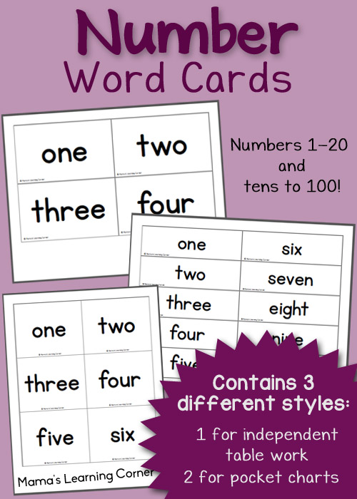 image relating to Free Printable Numbers 1-20 called Free of charge Printable: Selection Phrase Playing cards - Mamas Discovering Corner