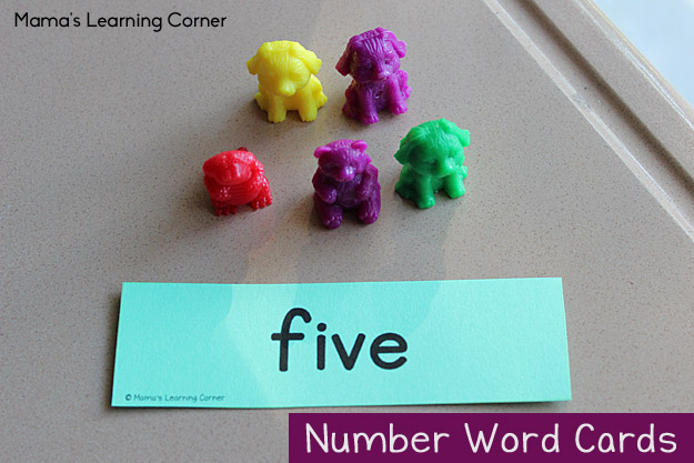 Number Word Cards with Counters