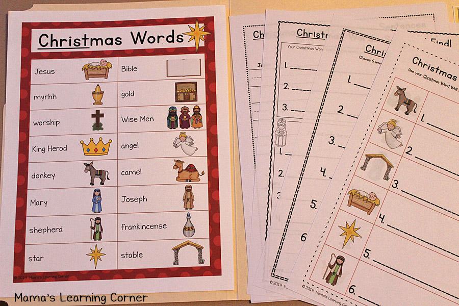 Christmas File Folder Word Wall : Vocabulary List