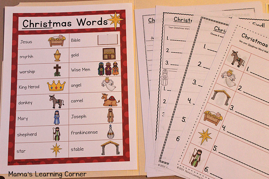 Christmas File Folder Word Wall : Vocabulary List