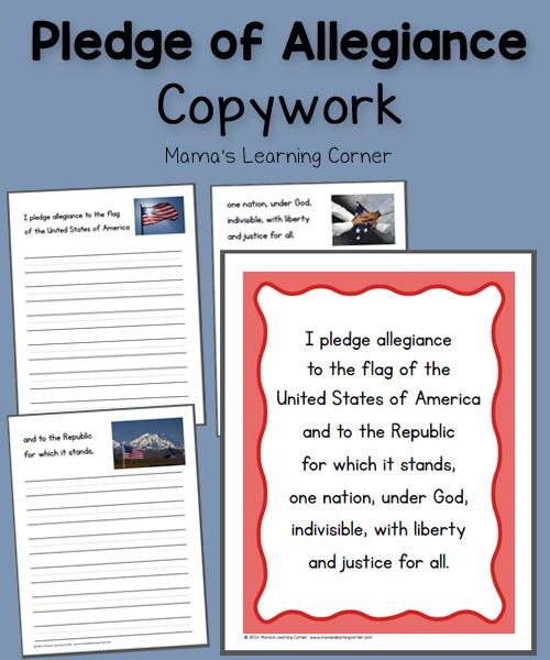 Pledge of Allegiance Copywork