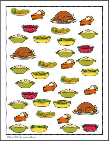 Thanksgiving Picture Bar Graph Worksheets