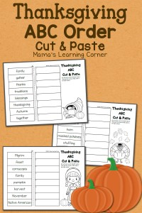 Thanksgiving ABC Order: Cut and Paste Worksheet