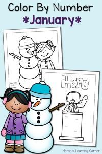 Color By Number Worksheets: January!