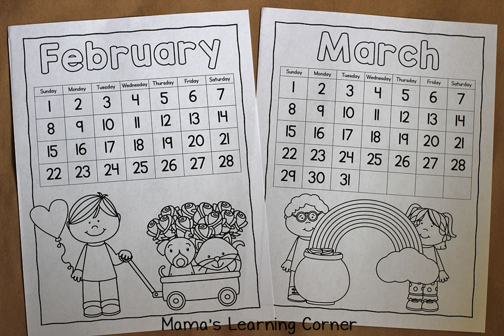 Free Printable Color Your Own Calendar