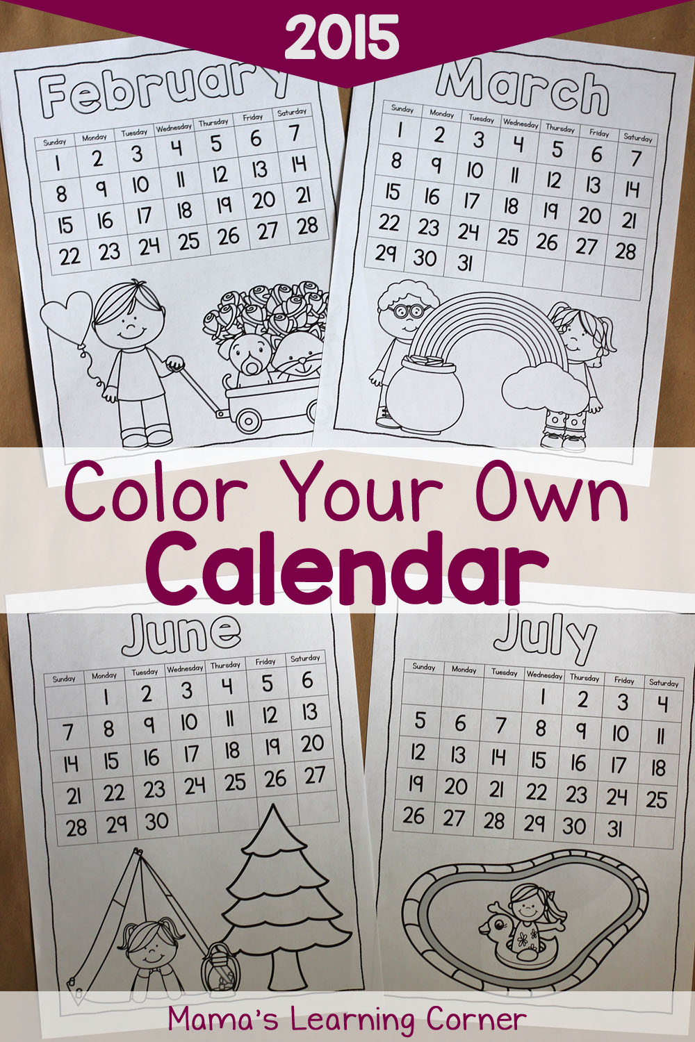 Color Your Own Calendar: Free Printable!