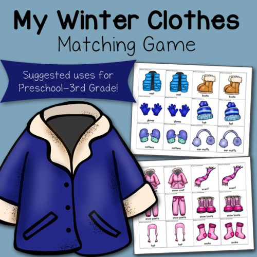 My Winter Clothes Match Game 8x8