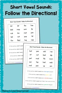 Short Vowel Worksheets: Follow the Directions!