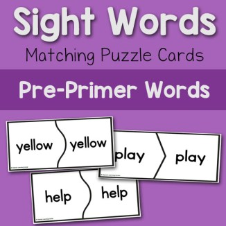 Sight Words: Matching Puzzle Cards 8x8