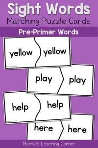 Basic Sight Words for Kindergarten: Pre-Primer Puzzle Cards