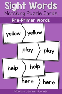 Sight Words Puzzle Cards