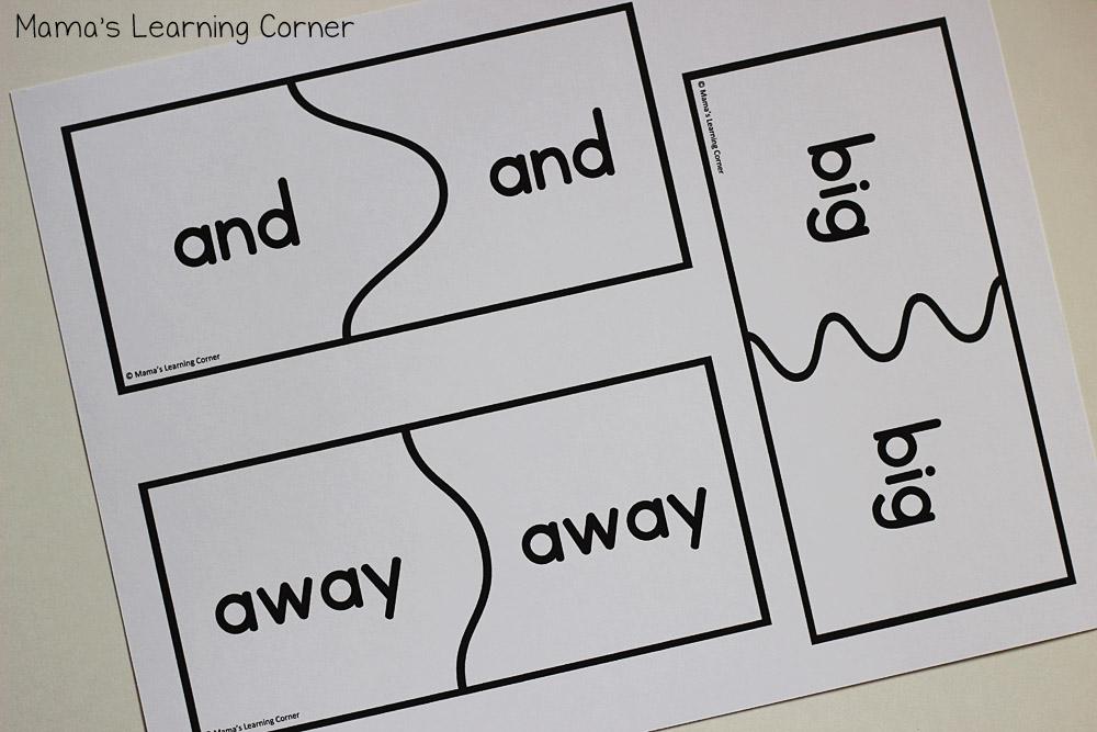 Kindergarten Sight Words: Puzzle Cards