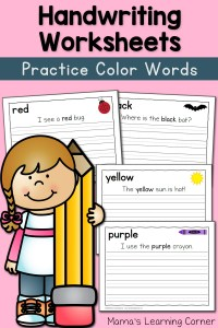 Handwriting Worksheets for Kids: Color Words!
