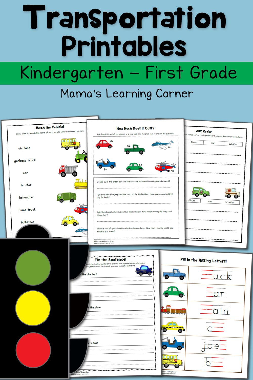 transportation worksheets for kindergarten and first grade. Black Bedroom Furniture Sets. Home Design Ideas