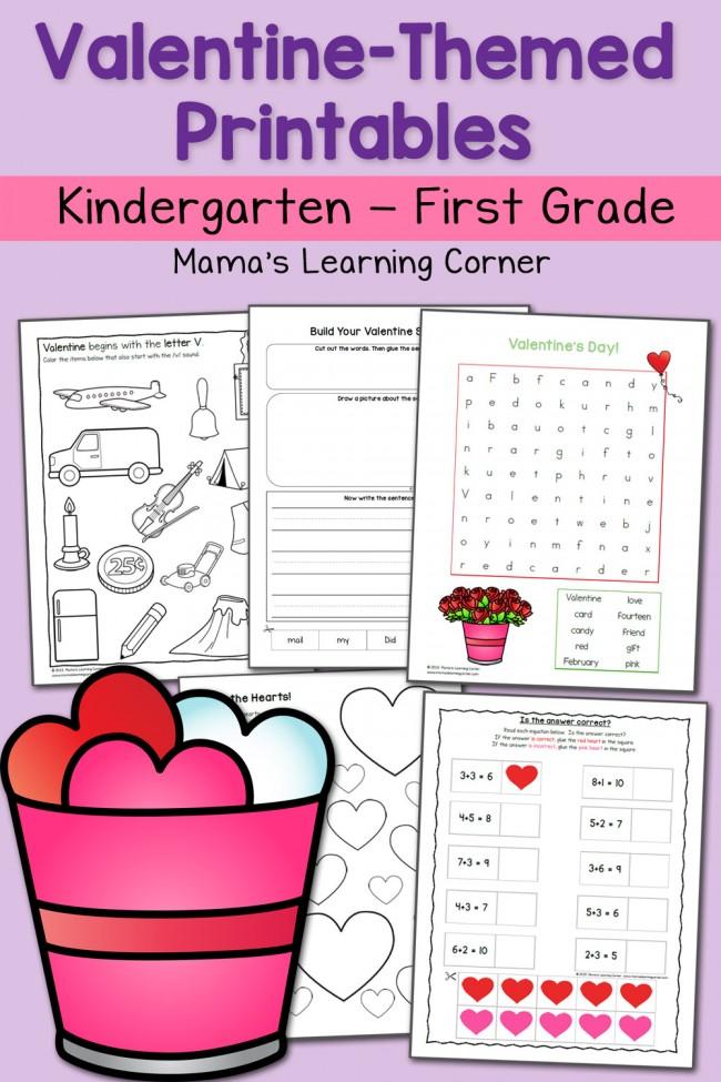 Valentine Worksheets: Kindergarten and First Grade