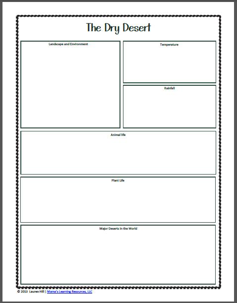 Desert Worksheets