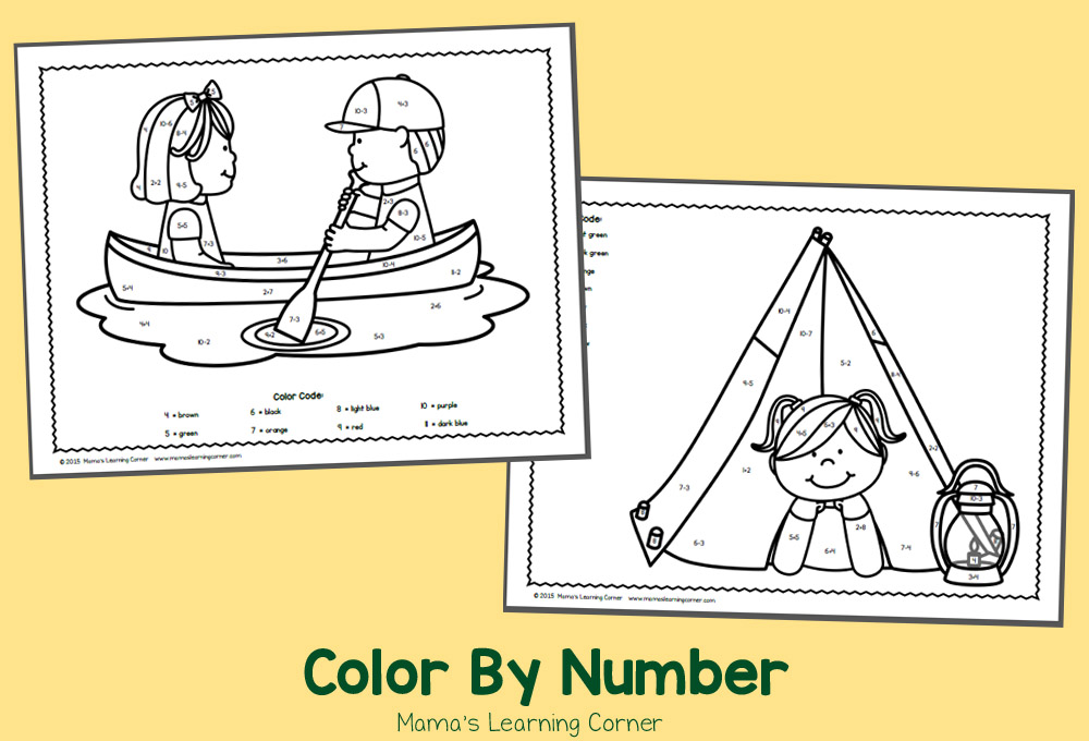 Free Color By Number Worksheets for June