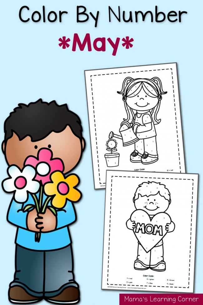 Color By Number Worksheets: May!