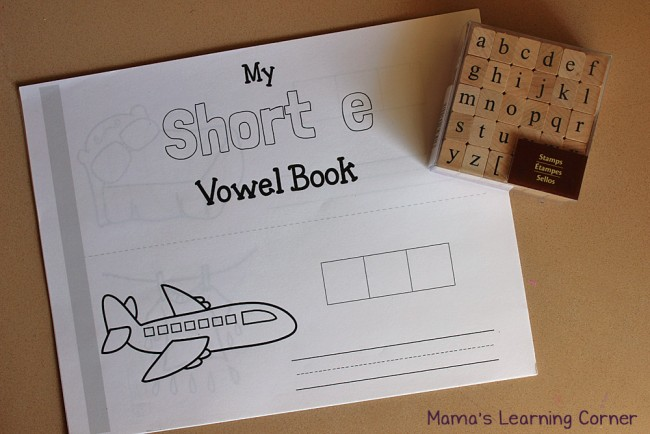 Activity Baskets for Kids:  CVC books and alphabet stamps