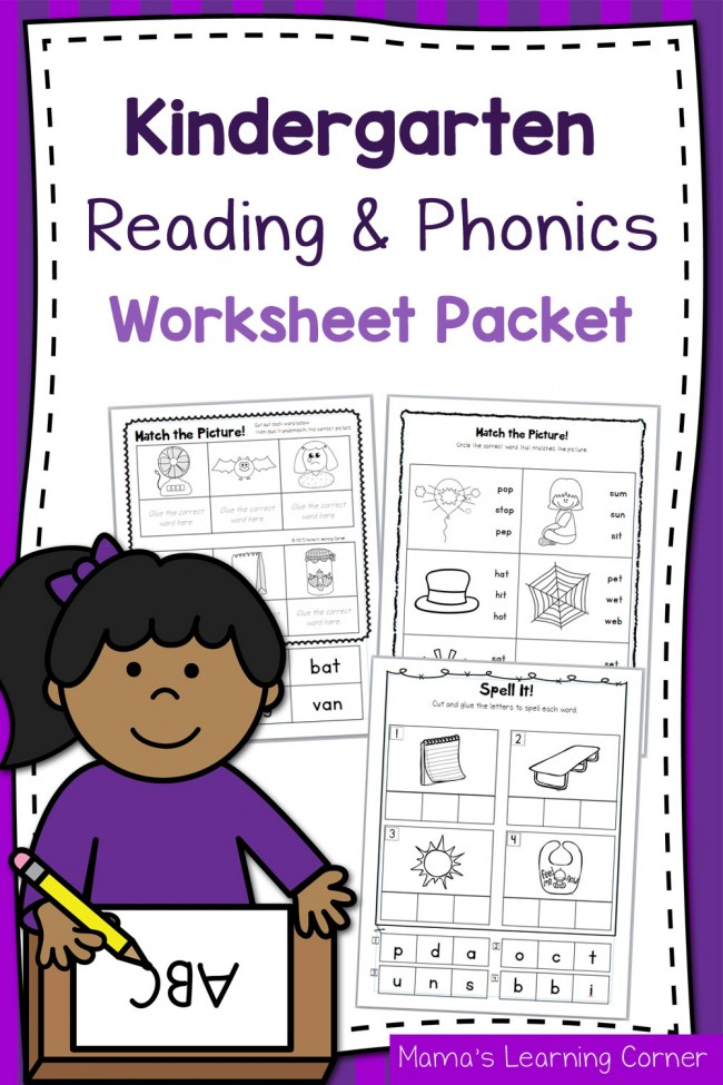Kindergarten Reading and Phonics Worksheet Packet - Mamas ...
