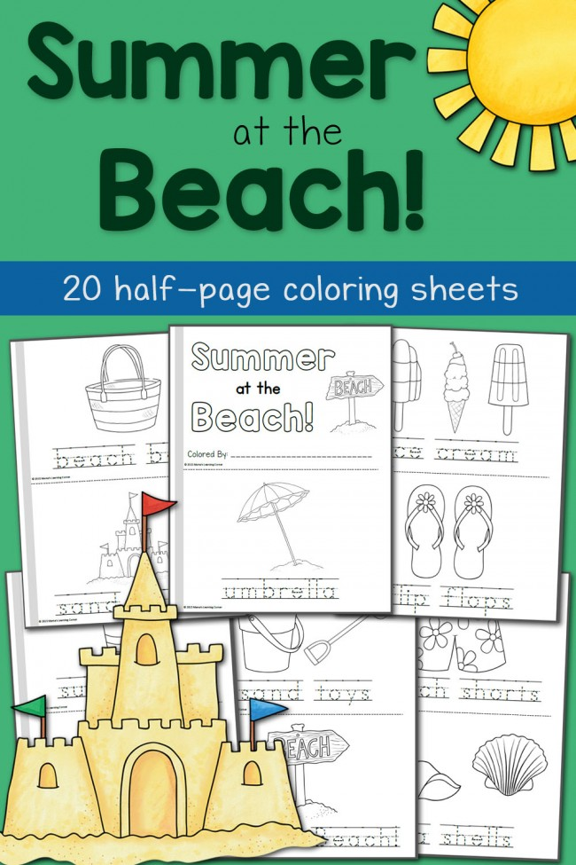 Summer Coloring Pages: At the Beach!