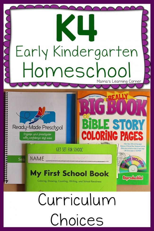 Early Kindergarten Homeschool Curriculum  2015-2016