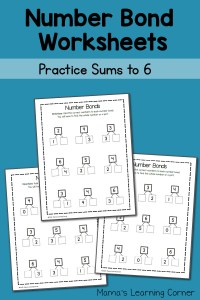 Number Bond Worksheets: Sums to 6