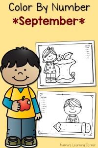 Color By Number Worksheets: September!