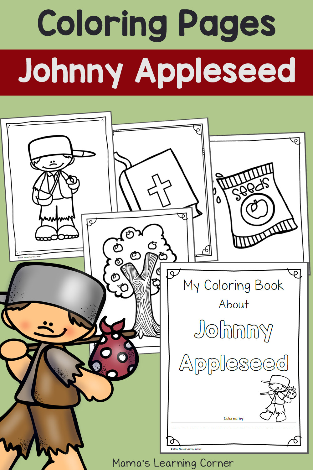 Johnny Appleseed Coloring Pages - Mamas Learning Corner